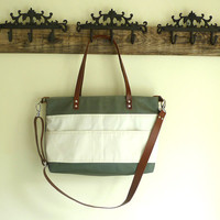 2014 SUMMER Khaki Waxed Canvas Tote with white pockets -  / Leather Single Strap Shoulder bag / Tote Bag / Diaper Bag
