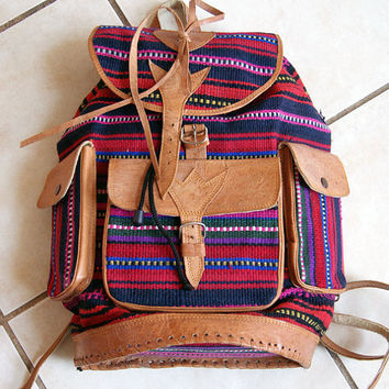 Vintage leather and hand woven Southwestern Navajo Peruvian Mochileros festival blanket backpack bag purse