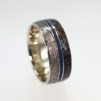 Dinosaur Bone Ring, Titanium Band with Gibeon Meteorite, Blue Enamel pinstripe