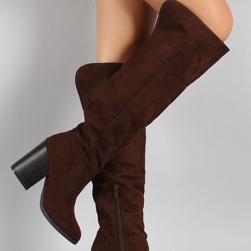Qupid Suede Chunky Stacked Heeled Knee High Boots