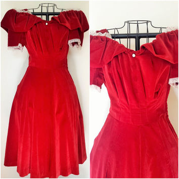 Vintage 1930's Red Velvet Dress / Red 30s Party Dress / Puffed Sleeves / Extra Small