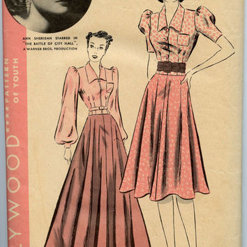 1930s Vintage Sewing Pattern Hollywood 1798 One Piece Dress Gown Circular Skirt Movie Star Ann Sheridan Bust 34