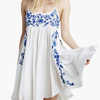 White Floral Print Strappy Yoke Mini Dress