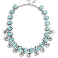 Crystal Wreath Collar-Turquoise/Antique silver