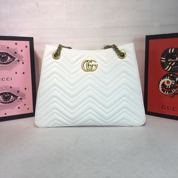 DCCK 983 Gucci Marmont Chain shoulder strap Corrugated shopping bags 36-27-14cm White