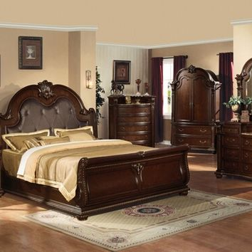 5 pc anondale collection cherry finish wood sleigh bed with bonded leather tufted headboard