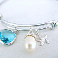 Aquamarine Bangle Pearl Bangle quartz starfish Gold Bangle Bridesmaid Bangles Beach Wedding aqua Aquamarine Jewelry March Birthstone bangle