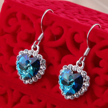 Heart of Ocean Earring 18K Platinum Plated with Austrian SWA Element