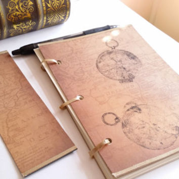 Old World Map Ribbon Notebook and Bookmark Set
