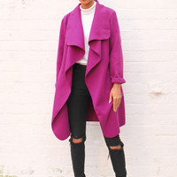 Midi Length Oversized Felt Waterfall Drape Belted Throw On Coat in Orchid Purple