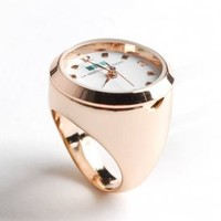 la mer - women's ring watch with chain (rose gold) - La Mer | 80's Purple
