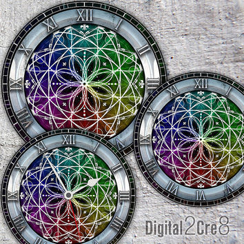 "Modern Large Clock Face - 12"" and 8"" Digital Downloads - DIY - Printable Image - Iron On Transfer - Wall Decor - Crafts - jpg and pdf"