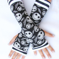 Nightmare before Christmas Skull fingerless gloves Jack Skellington unisex sizes