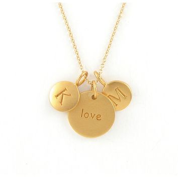Gold 2 Initial & Love Charm Necklace