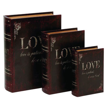 Wooden And Leather Book Box With Neat Lines - Set Of 3