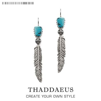 Indian Feathers Drop Earrings from the Silver,Thomas Style Good Ethnic Jewerly For Women,2017 Ts Gift In 925 Sterling Silver