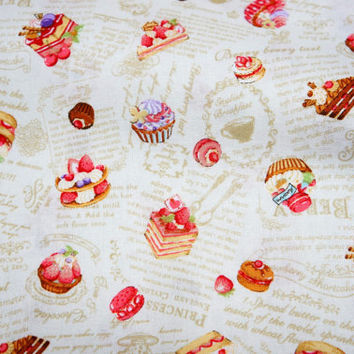 "Japanese fabric  sweets  50 cm by 106 cm or 19.6"" by 42"" Half meter Light weight A16"