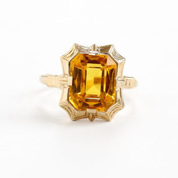 Vintage 10k Rose Gold Simulated Citrine Ring - Art Deco 1930s Size 5 3/4 Emerald Cut Orange Yellow Glass Fine Jewelry, Esemco