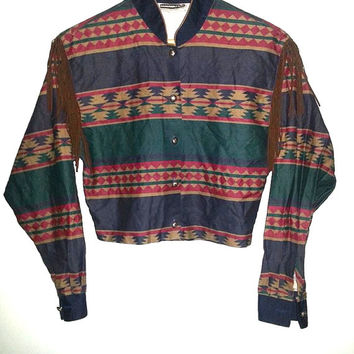 80s Vintage Western Shirt Cropped Tassels Long Sleeve Button Up Navajo Aztec Native American Cowboy by Panhandle Slim Quality Western Wear