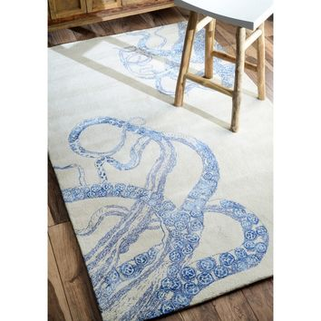 nuLOOM Handmade Octopus Tail Faux Silk / Wool Ivory Rug (5' x 8') | Overstock.com Shopping - The Best Deals on 5x8 - 6x9 Rugs