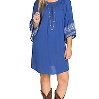 Flying Tomato Women's Pacific Blue Embroidered Gauze Dress- Plus Sizes