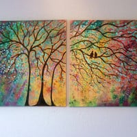 X Large Commission Original oil  Painting modern  contemporary knife impasto- Sunny Trees lovebirds sale 197