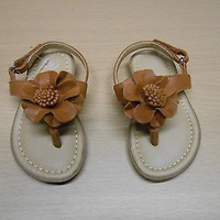Cherokee Toddler Girls' Flower Sandals, 6, Brown
