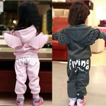 Cute 2 pcs Baby Kids Angel Wings Suits Outfits Sets Hoodies Hooded Coat Pants = 1931623108