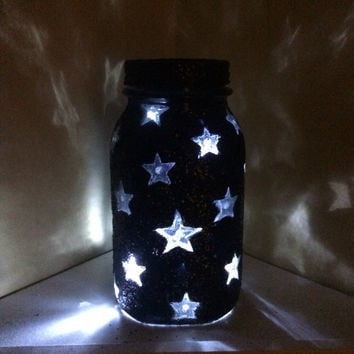 Black Glittered Quart size vintage Mason Star Jar LED night light