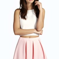 Maria Box Pleat Skater Skirt