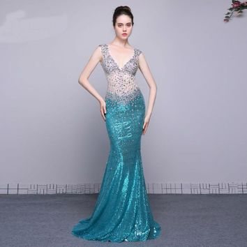 Evening gown mermaid beaded sequined lace formal dresses