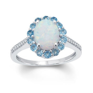 Oval Lab-Created Opal, Swiss Blue Topaz and White Sapphire Frame Ring in Sterling Silver