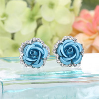 Korean Fashion Jewelry Fashion Silver Plated Multicolor Rose Flower Earrings For Women Vintage Crystal Earring