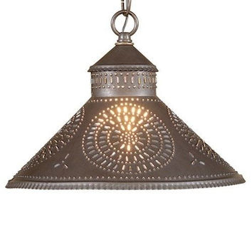 Stockbridge Shade Light Pendant with Chisel in Punched Tin Blackened Tin or Rustic Tin