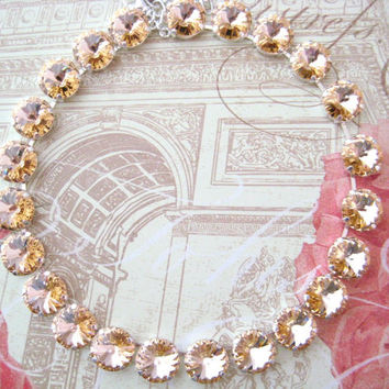Swarovski Light Peach Crystal Rivoli Rhinestone Silver Necklace, Anna Wintour Inspired, 14mm Big Stones Necklace Layering Necklace