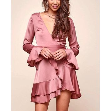 Into You satin flared sleeves peek-a-boo back mini wrap dress in muted rose