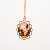 Art Deco Frida Kahlo pendant gold necklace :) Mexican art beautiful lady love factory nyc
