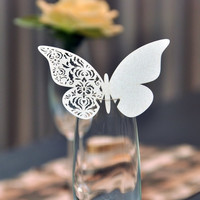 50 Pcs/Lots Laser Ivory Love Wine Glasses Place Name Cards Butterfly Wedding Favor Party Supply Table Decoration (Color: Ivory) = 1932029444