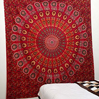 Indian Peacock Red Meditation Mandala Hippie Hippy Bohemian Tapestry + 1 Free Cushion Cover Wall Hangings Throw Cotton Bedcover Ethnic Decorative Décor Dorm Wall Art