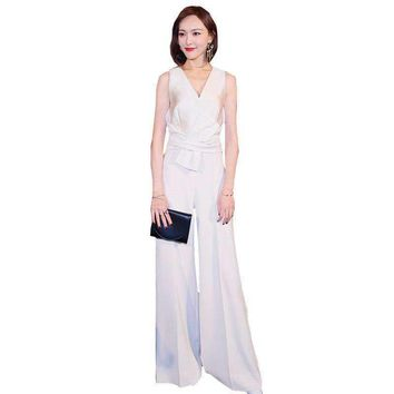 women swear party overalls elegant v collar loose flared Elegant slim body vadim jumpsuit wz463