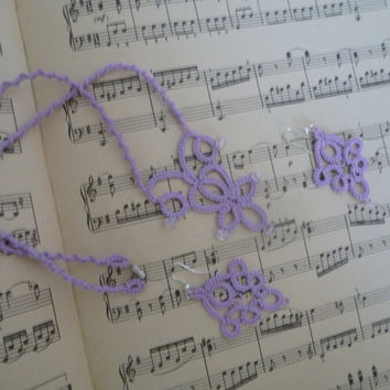 "Handcrafted jewelry tatting set ""Mozart""- necklace and earrings - party cocktail - for Her - wedding"