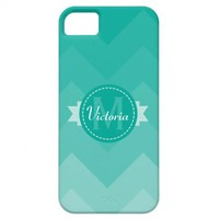 Blue Chevron Name Monogram Initial iPhone 5 Case from Zazzle.com