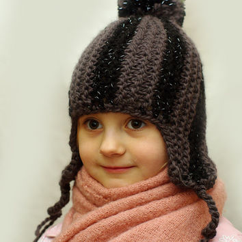 Kids reflective striped ear flap hat, aviator cap, trapper hunter hat, knit hat, winter hat, pompom hat, knitted reflector hat