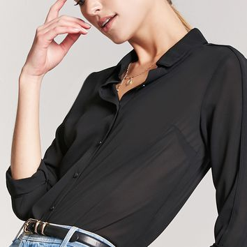 Sheer Button-Front Shirt