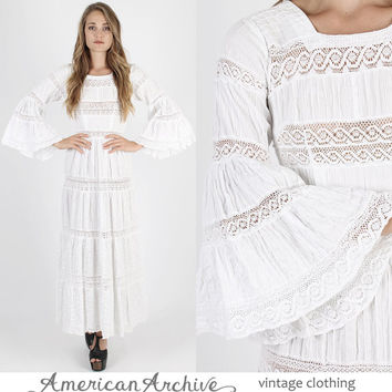 Mexican Dress Mexican Wedding Dress Boho Wedding Dress Boho Dress Fiesta Dress Vintage 70s Dress Crochet Floral Lace Bell Sleeve Maxi