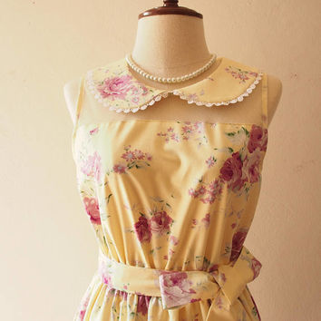 FLORAL DRESS Yellow Dress Peter Pan Collar Cotton Dress Illusion Dress Vintage Sundress Party Dress Prom Tea Dress Swing Dance Dress