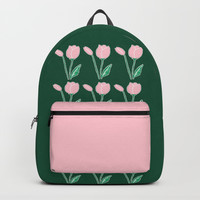 Tulips Pattern in Light Pink and Dark Green Backpacks by Artist Abigail