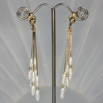 Freshwater Pearl Dangle Earrings Gold Filled Bridal Vintage
