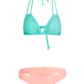 Color Block Triangle Cups Halter Padded Bikini Top And Bottom