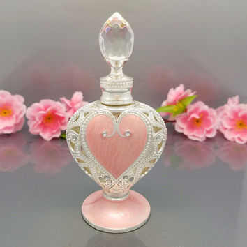 12ml Middle Eastern Vintage Bottle Heart Shape with Luxury Round Sparkler Crystal on the Cap,Glass Stick Perfume  Bottles